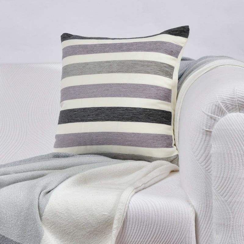 Robust stripe lilac cushion cover