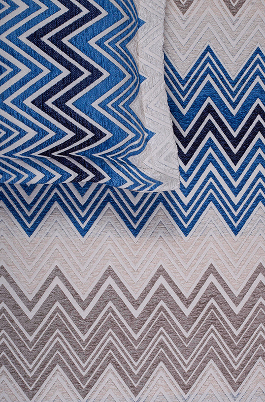 Ombre Large Zag Blue Bedspread Set