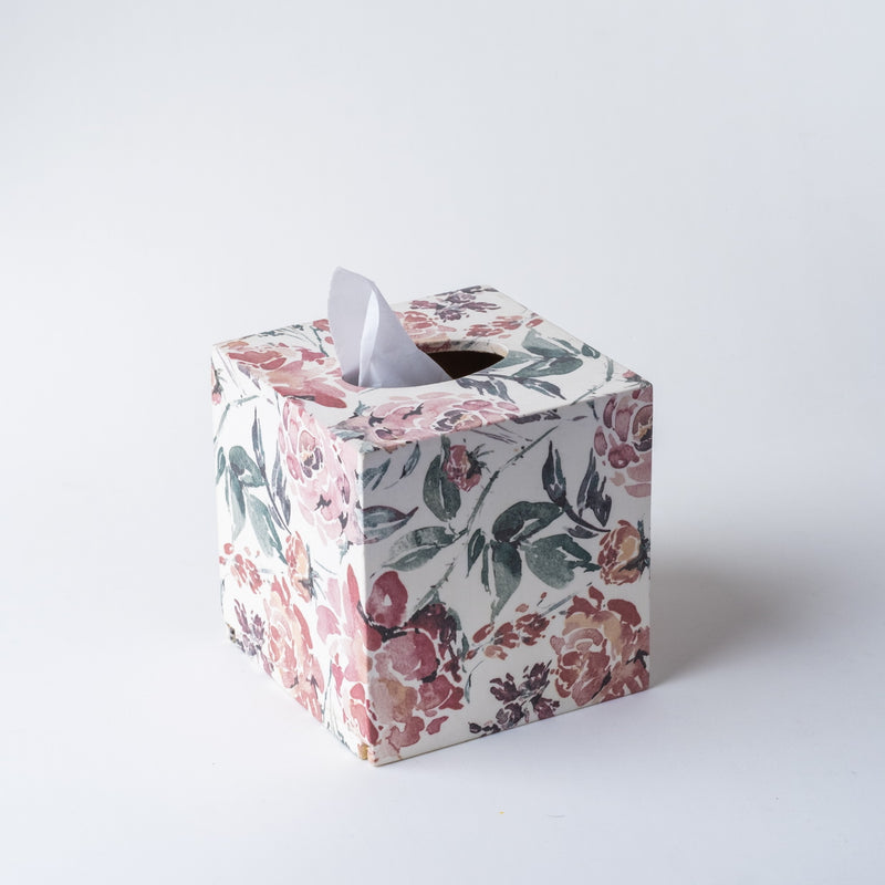 SQUARE TISSUE BOX ENGLISH ROSE