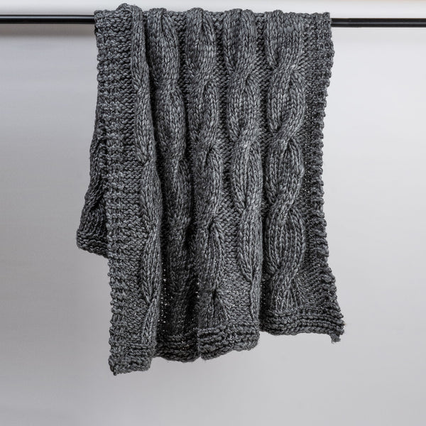 Grey Cable Knitted Throw