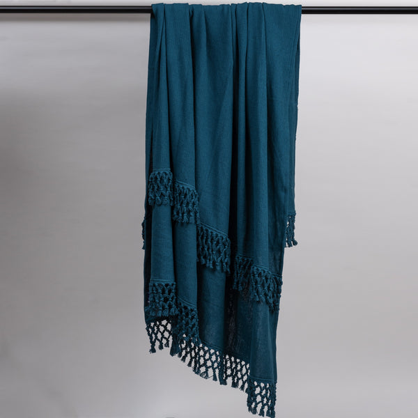 Blue Depth Fringed Throw