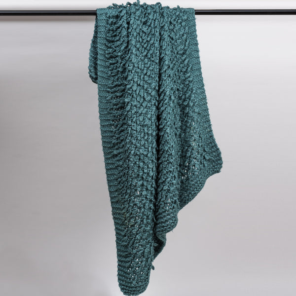 Wurly Teal Hand Knitted Throw