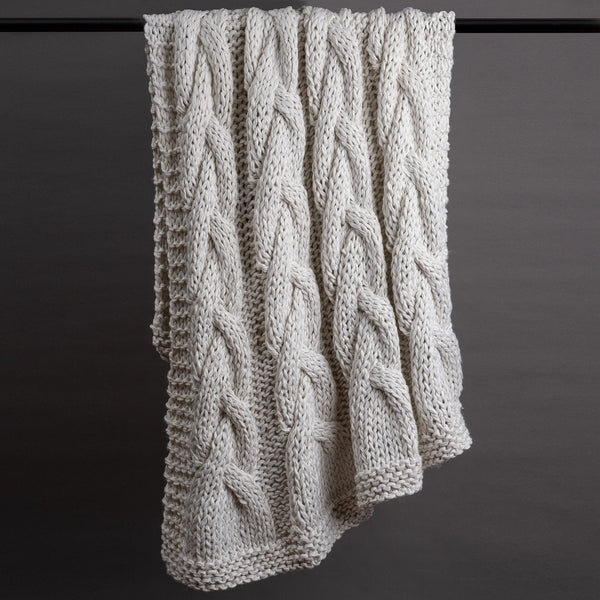 French Braid Hand Knitted Throw