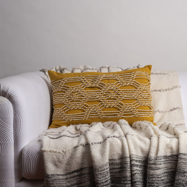 Macrame Mustard Cushion Cover