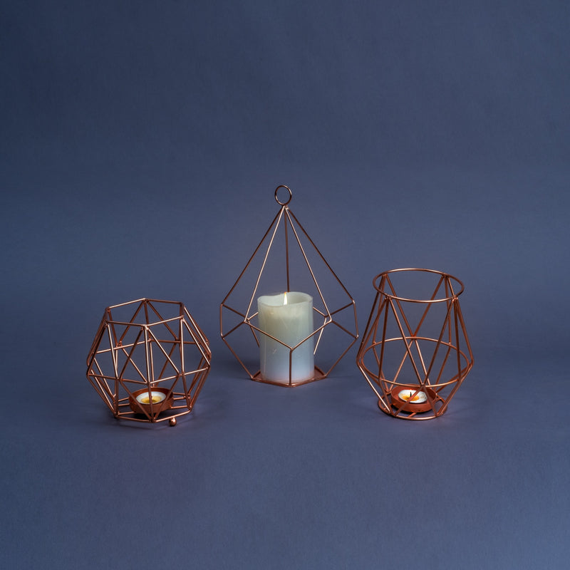 Rose-Gold Geometric Votive