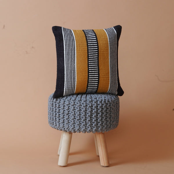 Mustard stitch stripe cushion cover