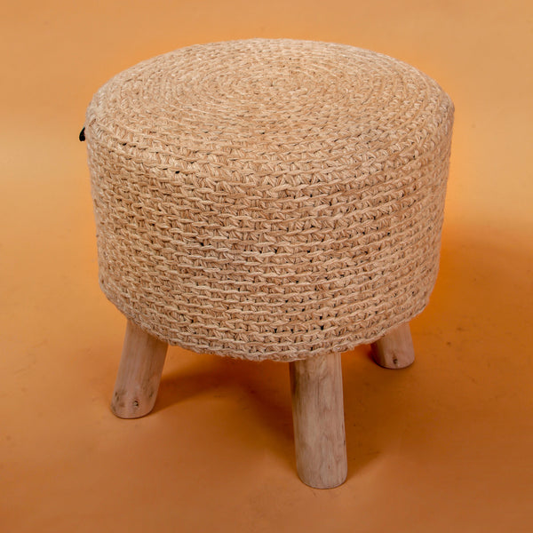 Knitted Natural Pouf Stool