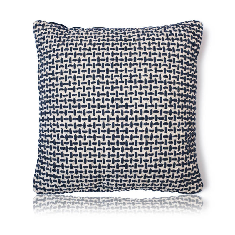Navy Basket Weave Cushion Cover
