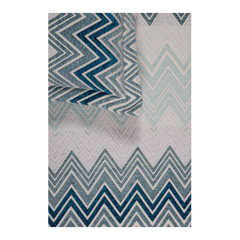 Ombre Large Zag Teal Blue Bedspread Set