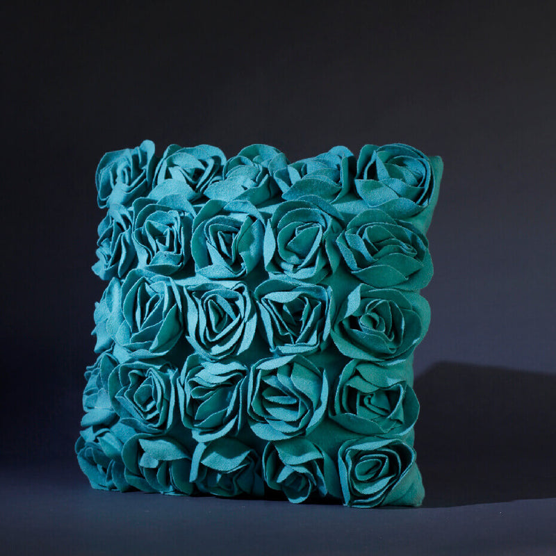 Garden Roses Aqua Cushion Cover