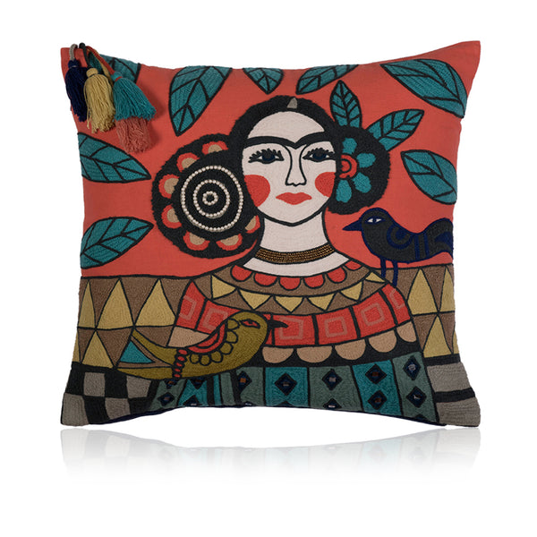 Frida Kahlo Tribal Cushion Cover