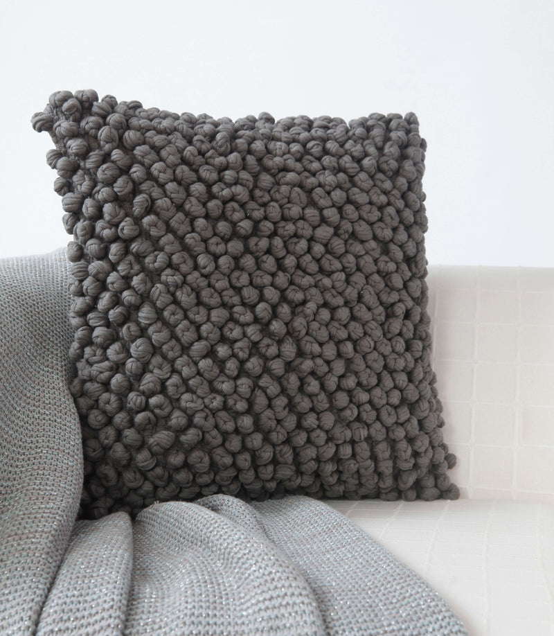 Turban Knot Charcoal Cushion Cover