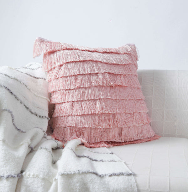 Fringe Pink Cushion Cover