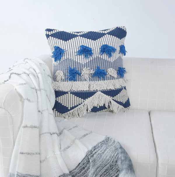 Boho Fringe Blue Cushion Cover