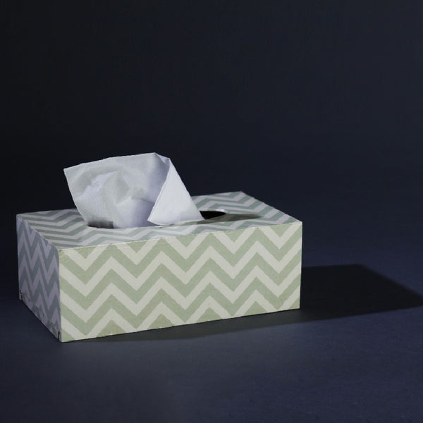 TISSUE BOX SILVER CHEVRON
