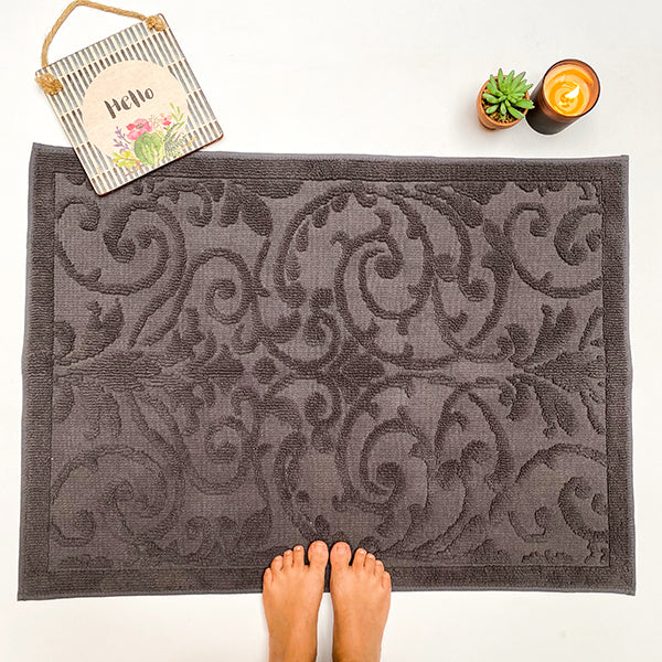 Damask Jacquard Slate Washable Rug