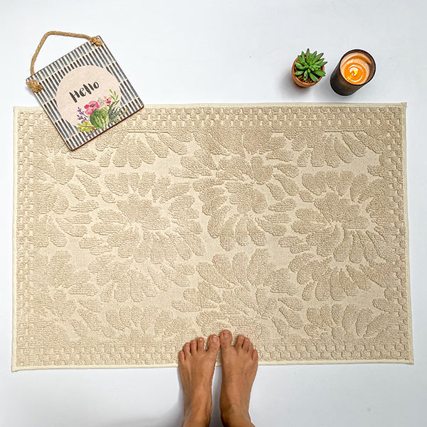 Paisley Jacquard Cream Washable Rug