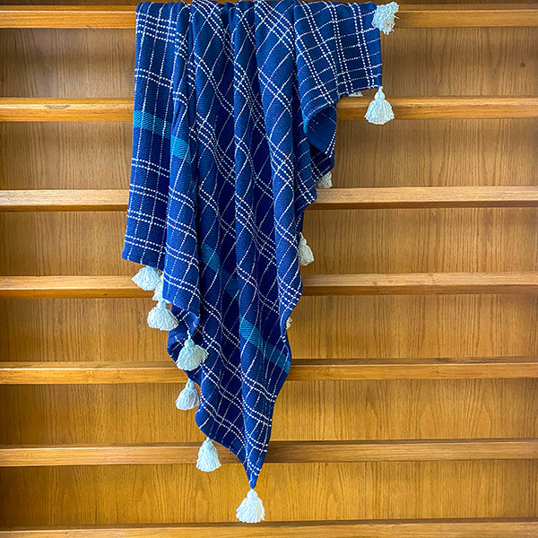 Cobalt Tartan Throw