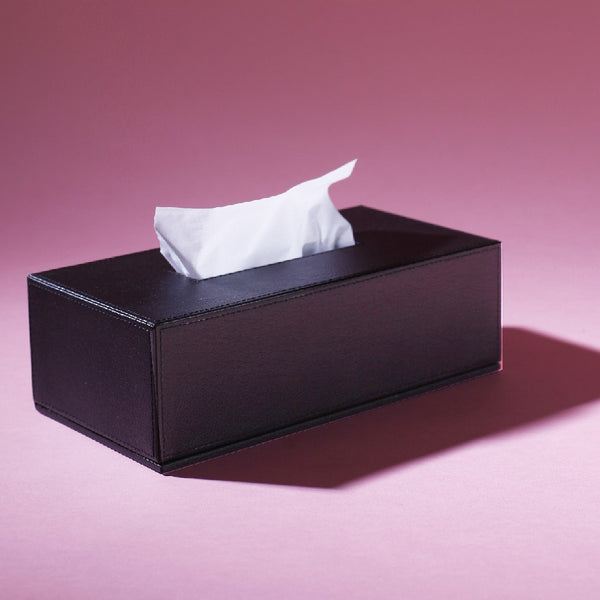 Leather Tissue Box Black