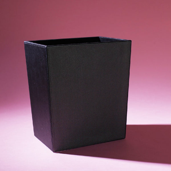 Leather Dustbin Black