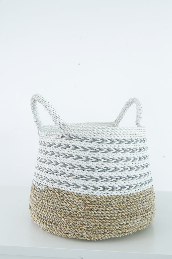 SEA WEED WHITE GREY BASKET SMALL
