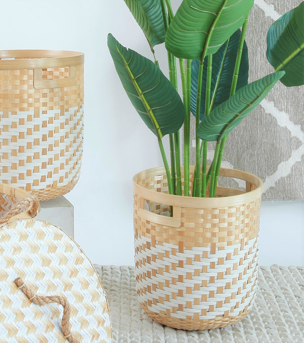 Bamboo Planter Natural White - LARGE