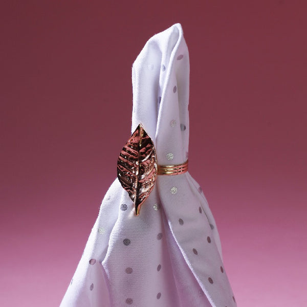 NAPKIN RING LEAF ROSE GOLD