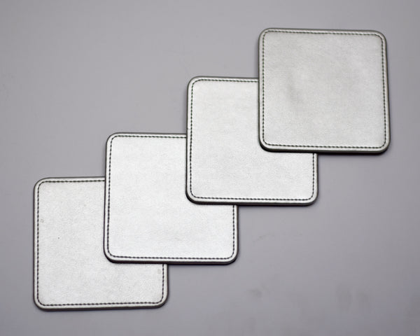 Silver Leather Coasters