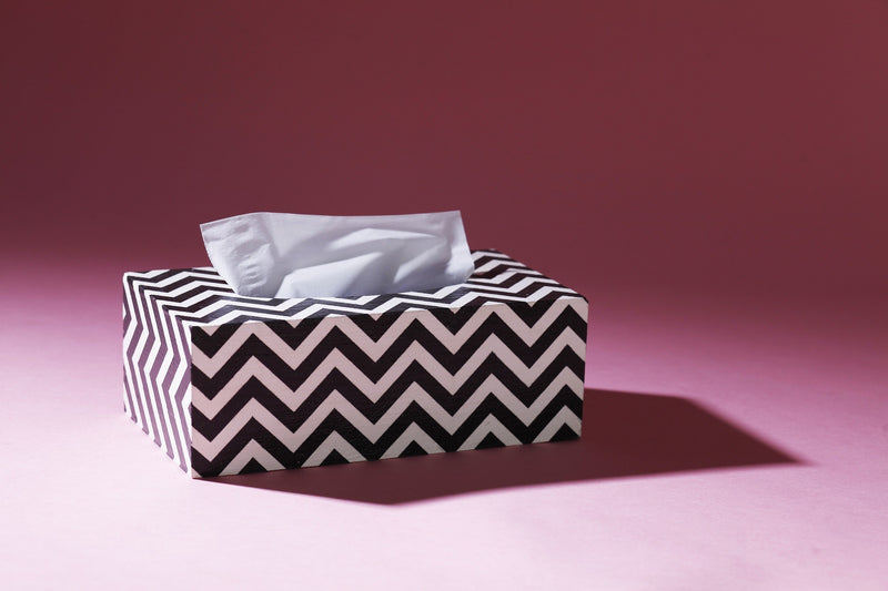TISSUE BOX B/W CHEVRON