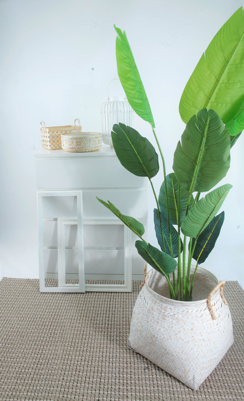 Bamboo Solid White Planter