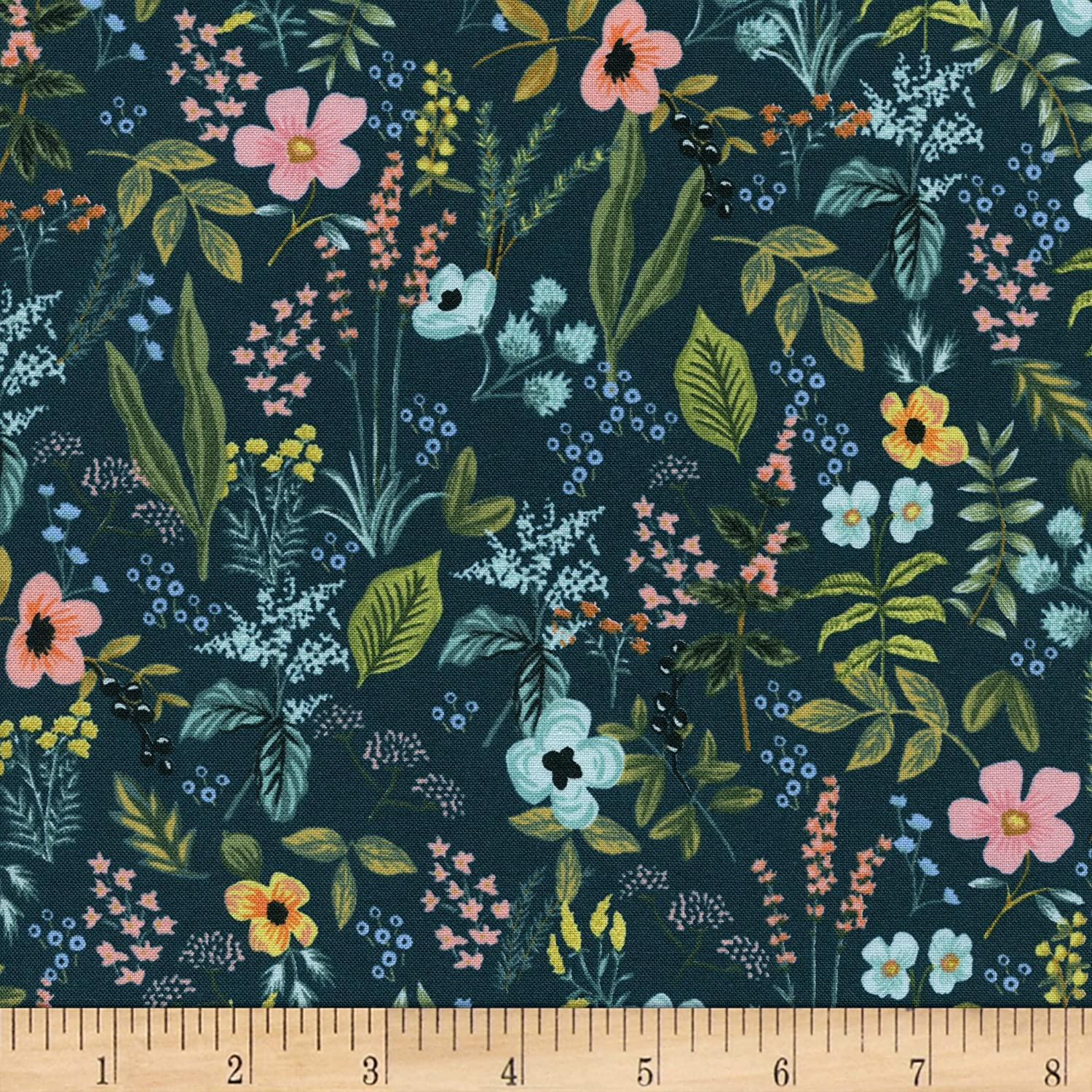 "Cotton + Steel- Rifle Paper Co Amalfi Herb Garden Navy (sold in 25cm  (10"") increments)"