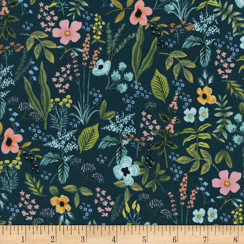 "Cotton and Steel- Rifle Paper Co Amalfi Herb Garden Navy (sold in 25cm  (10"") increments)"