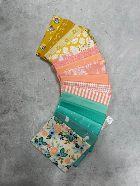 Modernly Morgan's' fabric bundle kit - 'Homespun Quilt' small throw size  (Art Gallery Fabrics, Bella, Kona and Cotton + Steel)