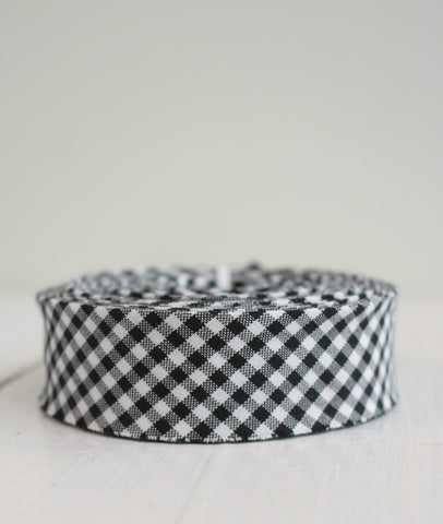 Bessie Pearl Bias Binding - Black and White Gingham