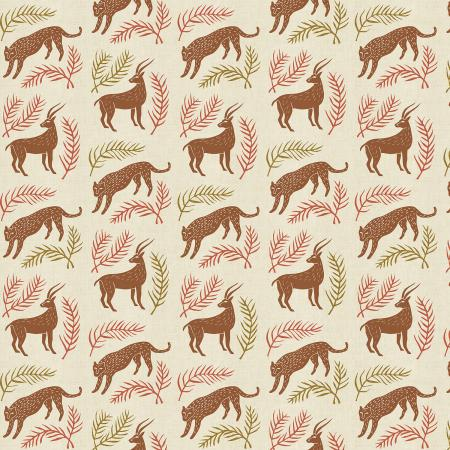 "All through the Land by Cotton + Steel-  Grassland - Sienna Unbleached Metallic Fabric (sold in 25cm  (10"") increments)"