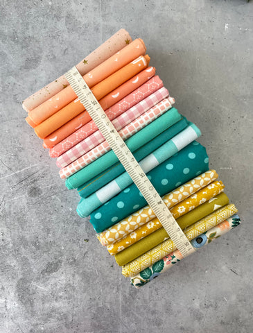 Curated fat quarter bundle '6 months to build a bundle- 16 Fat Quarters (Cotton and Steel, Art Gallery Fabrics, Kona)