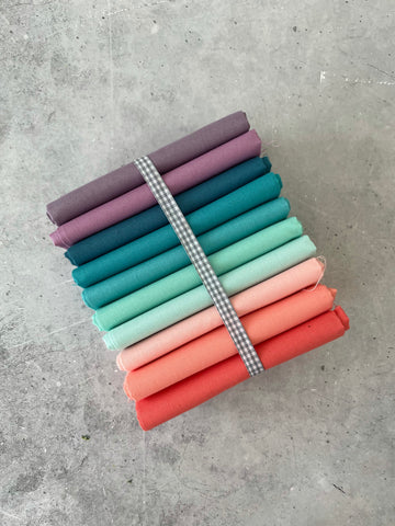 Curated Fat Quarter Bundle- 'Calypso Quartet' 10 Fat Quarters (Kona, Moda Bella and Devonstone solids)
