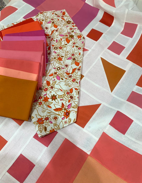 Sarah Made and Fabric Stork 'Nestologie quilt' fabric bundle kit- throw size  (Kona, Bella and Devonstone solids)