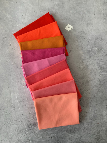 Curated Fat Quarter Bundle- 'Fire Fly July' 9 Fat Quarters (Kona, Moda Bella and Devonstone solids)