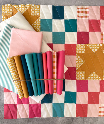 Then Came June 'Campfire Glow Quilt' fabric bundle kit - throw size  (Bella, Kona, Art Gallery Fabrics)