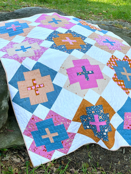 Lo and Behold Stitchery 'Nightingale quilt' fabric bundle kit- small throw size  (Ruby Star Society, Art Gallery Fabric, Kona and Bella solids)