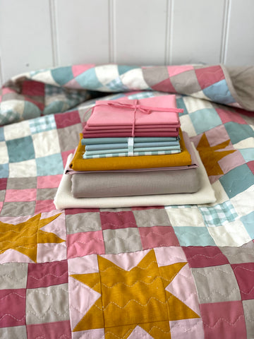 Then Came June 'Campfire Glow Quilt' fabric bundle kit - throw size  (Bella, Kona, Kitchen window wovens and cotton linen)