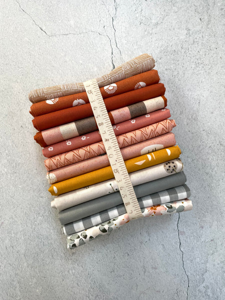 "Curated fat quarter bundle ""Sandfire Magic"" - (12) Fat Quarters (Bella, Kona, Andover, Robert Kaufman)"