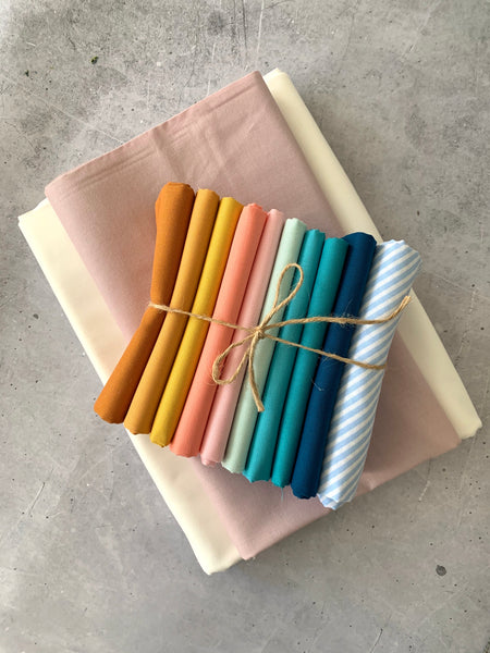 Wren Collective 'The Mae quilt' fabric bundle kit- throw size  (Kona, Bella and Devonstone solids)