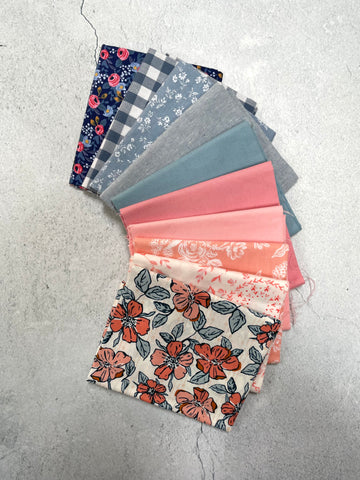 Curated Fat Quarter Bundle- 'Floral Fusion' 10 Fat Quarters (Art Gallery Fabric, Kitchen Window Wovens, Cotton + Steep, Bella solids)