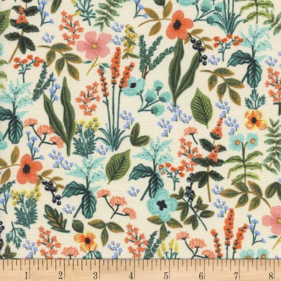 "Cotton + Steel- Rifle Paper Co Amalfi Herb Garden (sold in 25cm  (10"") increments)"