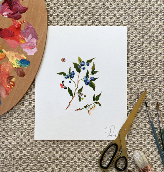Botanical Print: Blueberries