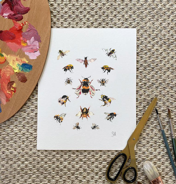 Botanical Print: Bee Study