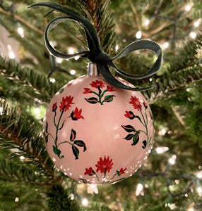 2019 Ornament: Christmas Block Print on Pink