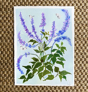 Butterfly Bush on Blue